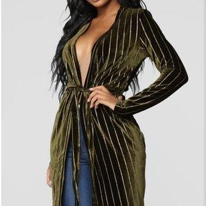 Fashion Nova Olive Green Duster with Gold Glitter